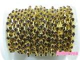 高級ガラス製ダイヤチェーン ゴールド台座 ダークアメジスト石 10cm