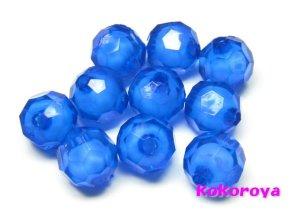 画像1: アクリル製ビーズ 多面カット ブルー 10個 10mm