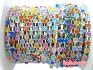 画像1: シルバーチェーン・カラフルMIX石(4) 3mm 10cm 切り売り